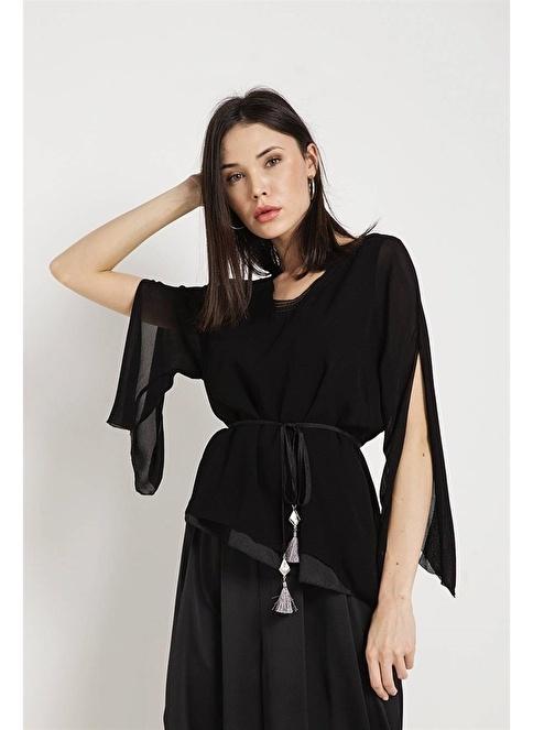 Rue V Yaka Belden Bağlamalı Bluz Siyah